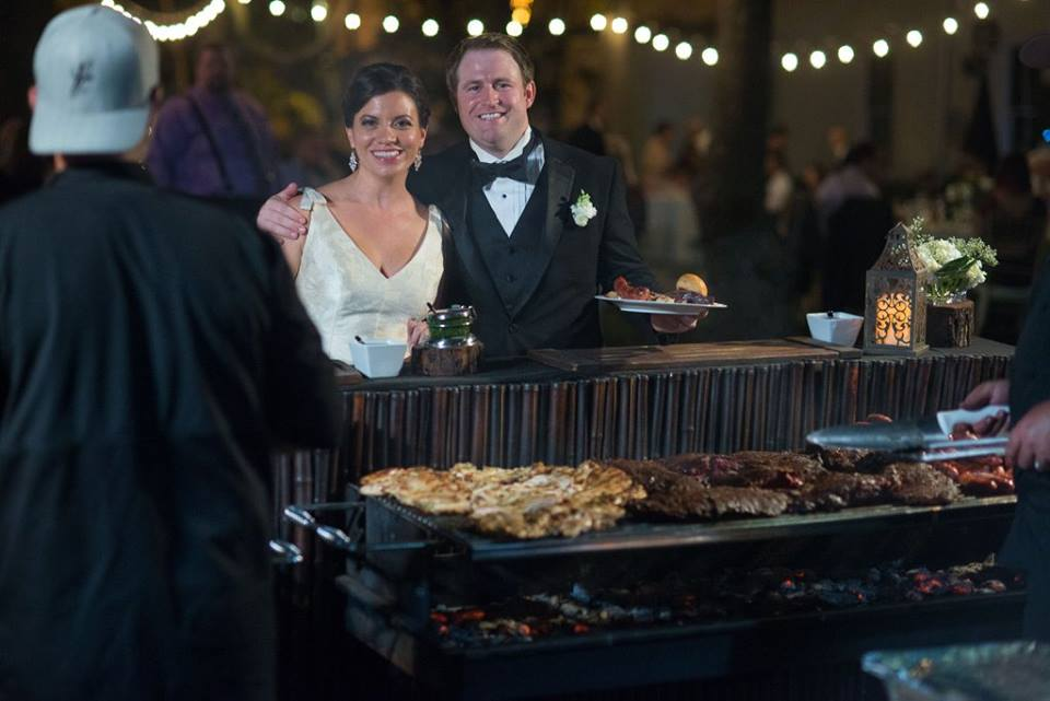 Bride and Groom at the live Grill set up by Yummy Chori