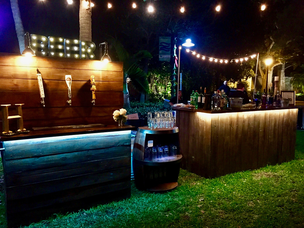 Rustic Beer Bar and Large Wood Bar with lights!