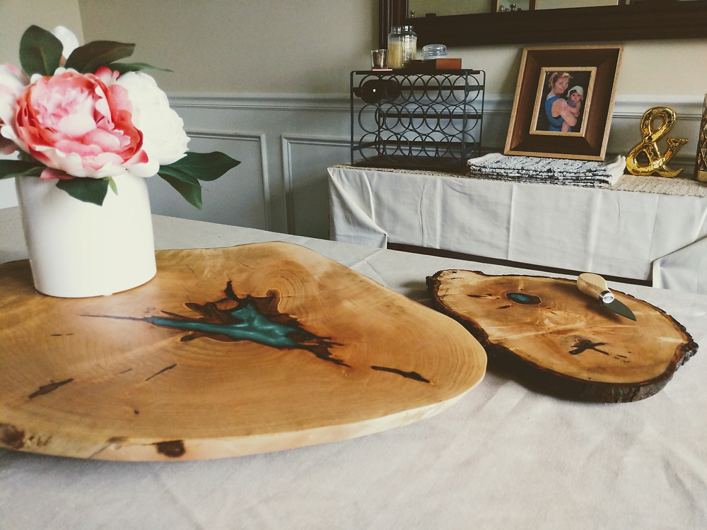Live-edge Maple Serving Tray with Blue Epoxy Inlay