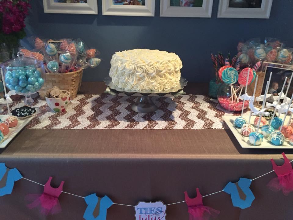 White Baby Reveal cake