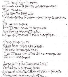 Jeff's handwritten lyrics