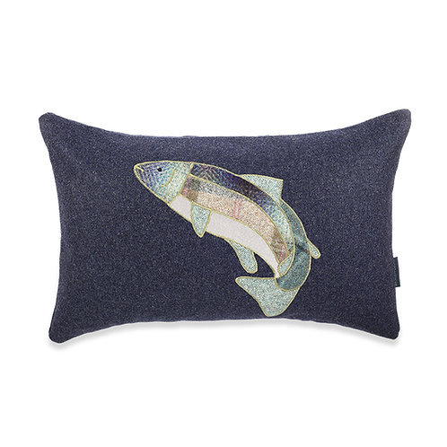 Buckley and Booth Leaping Salmon long wool home interiors cushion