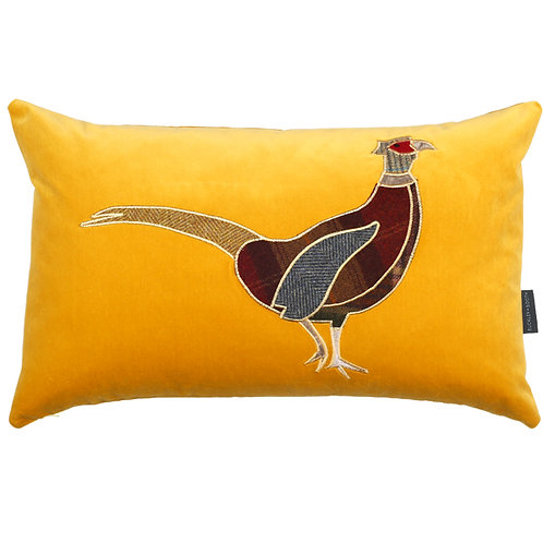Buckley and Booth Very Pleasant Pheasant yellow velvet cushion Christmas 2020