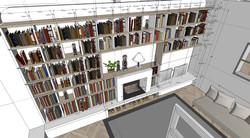 Projet Moncey cheminée bibliothèque