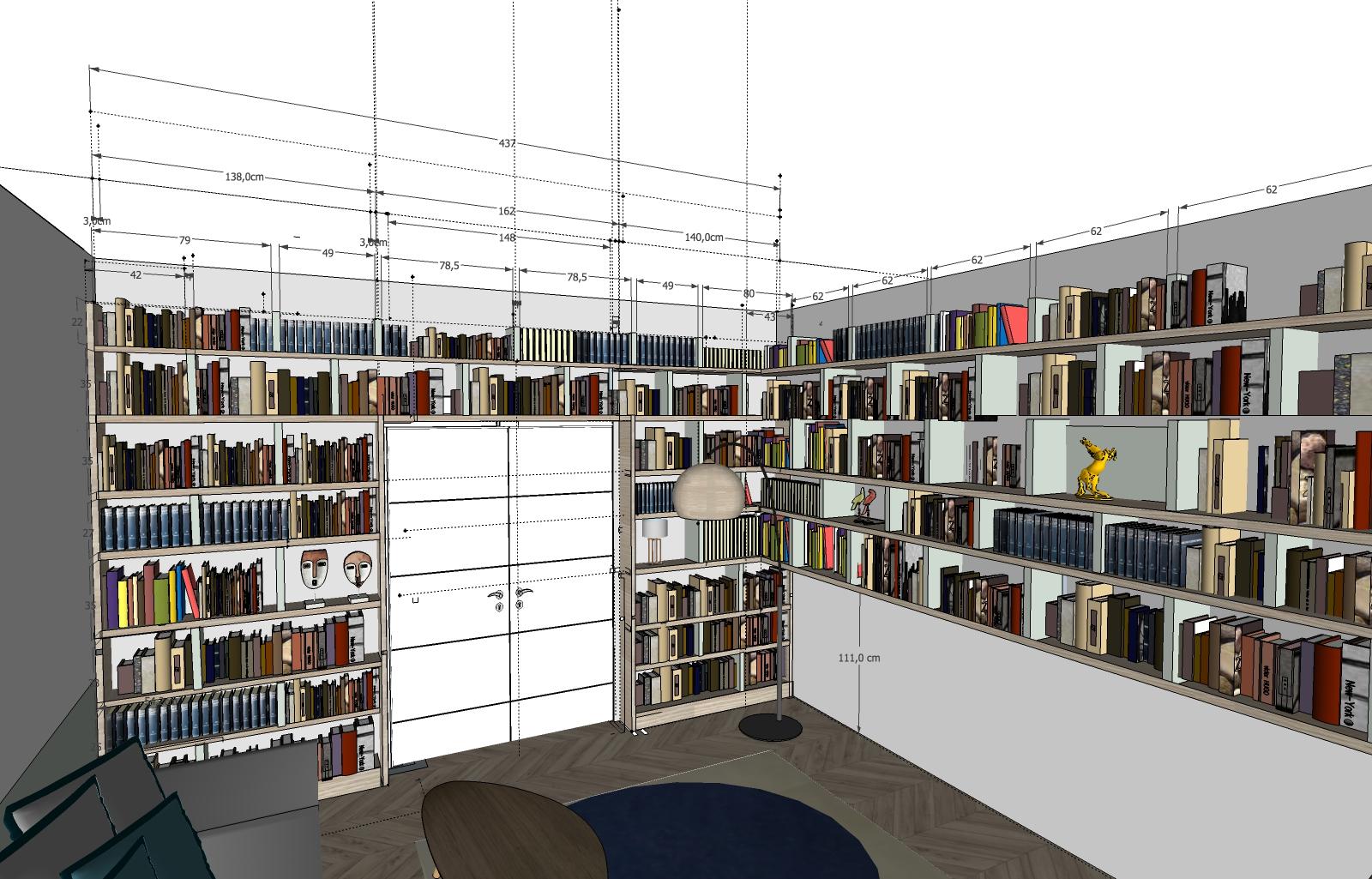 Coupe bibliothèque cotée 3D