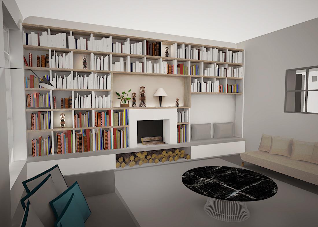 Projet Moncey Séjour projeté 3D
