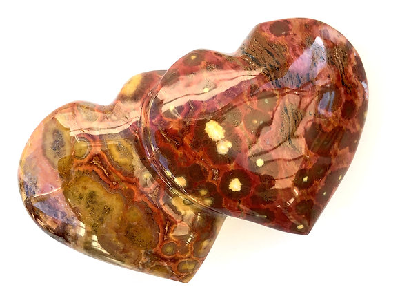 Orbicular Jasper Twin Hearts