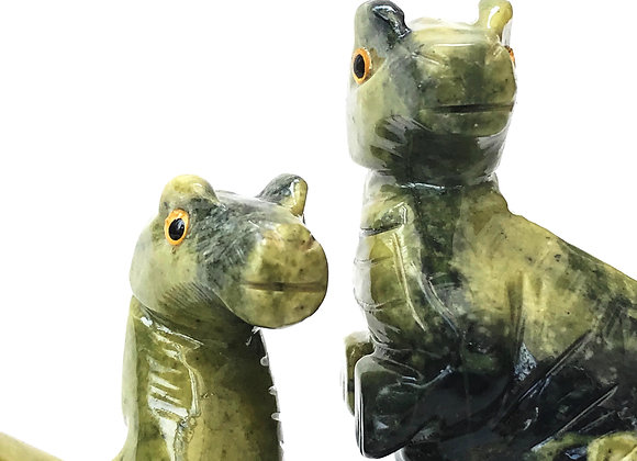 Pair Serpentine Dinosaurs