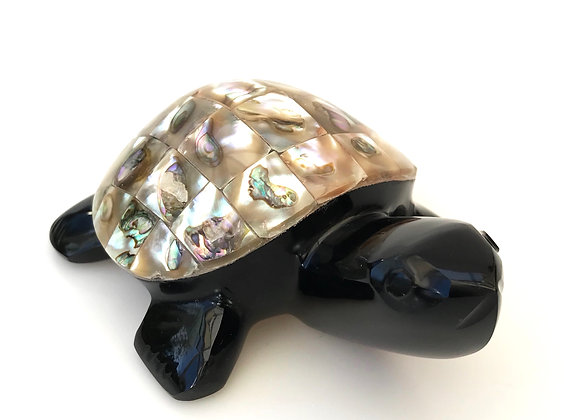 Obsidian & Abalone Large Turtle Female