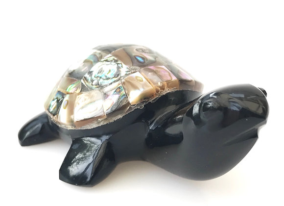 Obsidian & Abalone Turtle