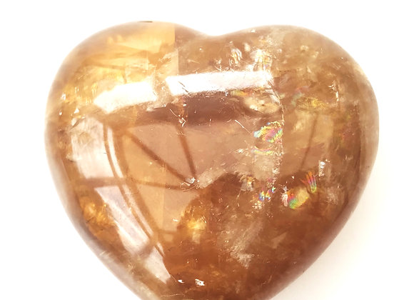 Honey Calcite Heart