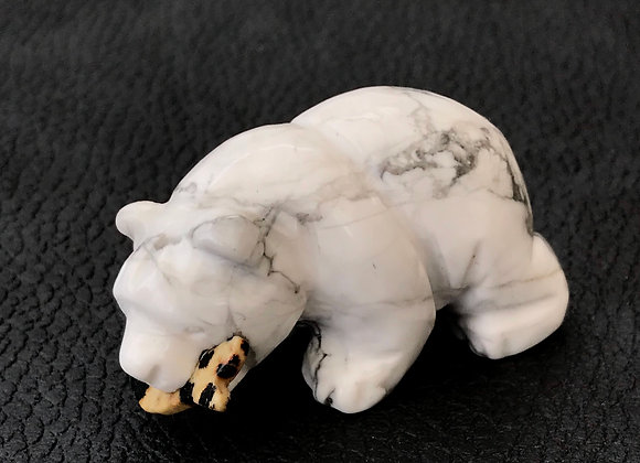 Howlite Bear Catches Fish