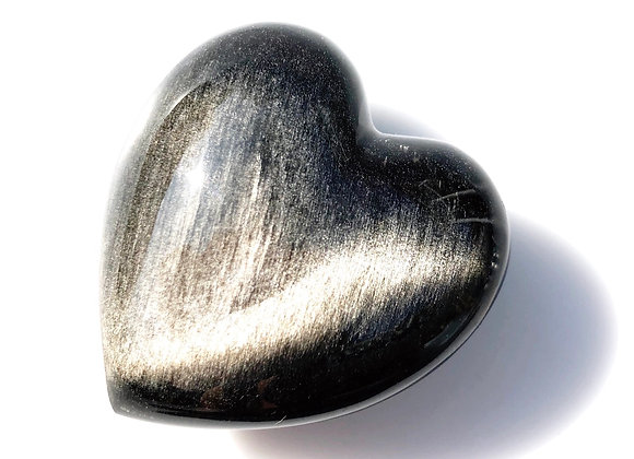 Silver Sheen Obsidian Puff Heart