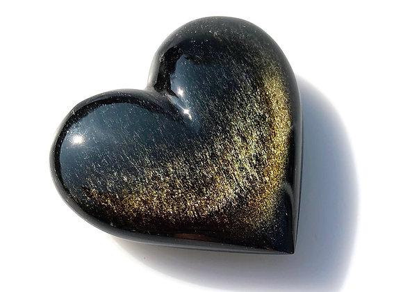 Gold Sheen Obsidian Puff Heart