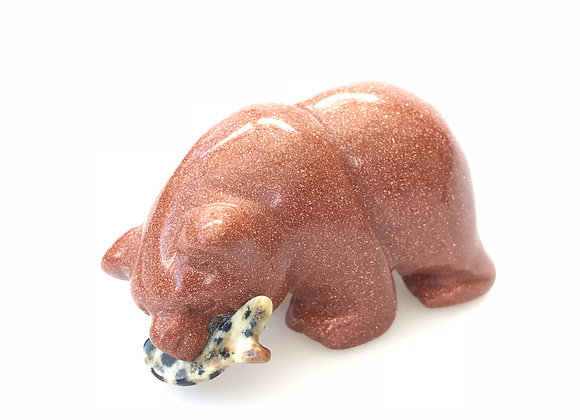 Gold Starstone Bear Catches Fish