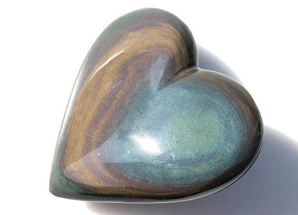 Rainbow Obsidian Puff Heart