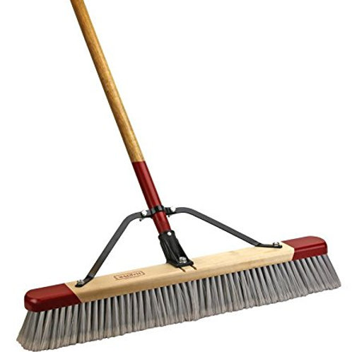 "24"" Fine Debris Push Broom With 60"" Handle"