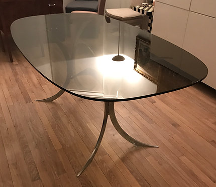 Table métal et verre 1980