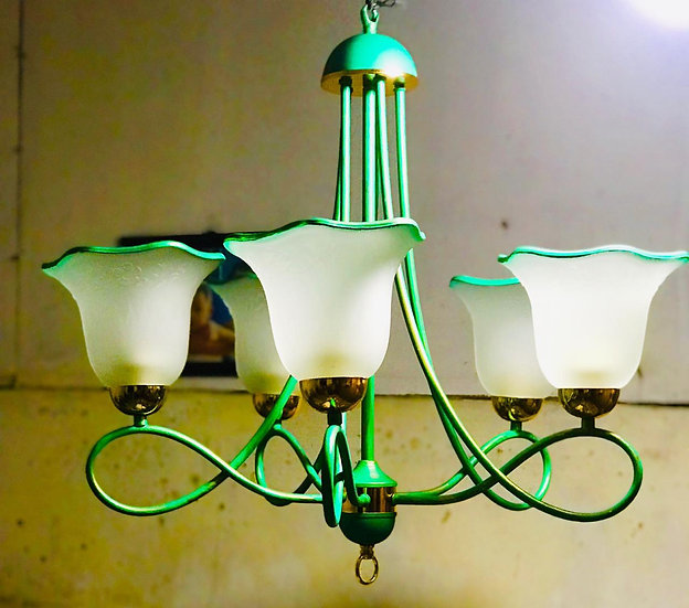 Green tulip chandelier