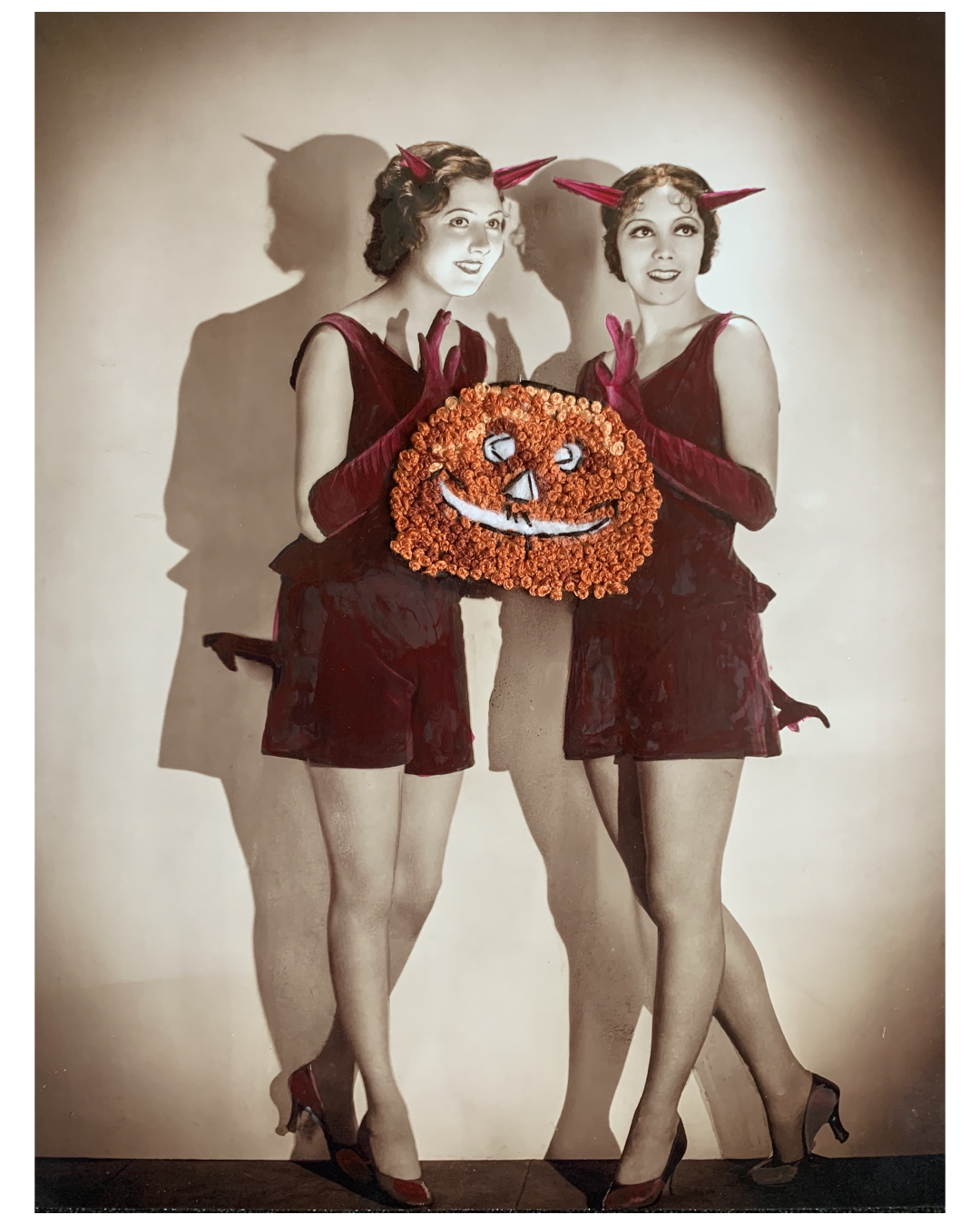"""""""Pumpkin Pin-up,"""" Ink and hand-embroidery on photoraph."""