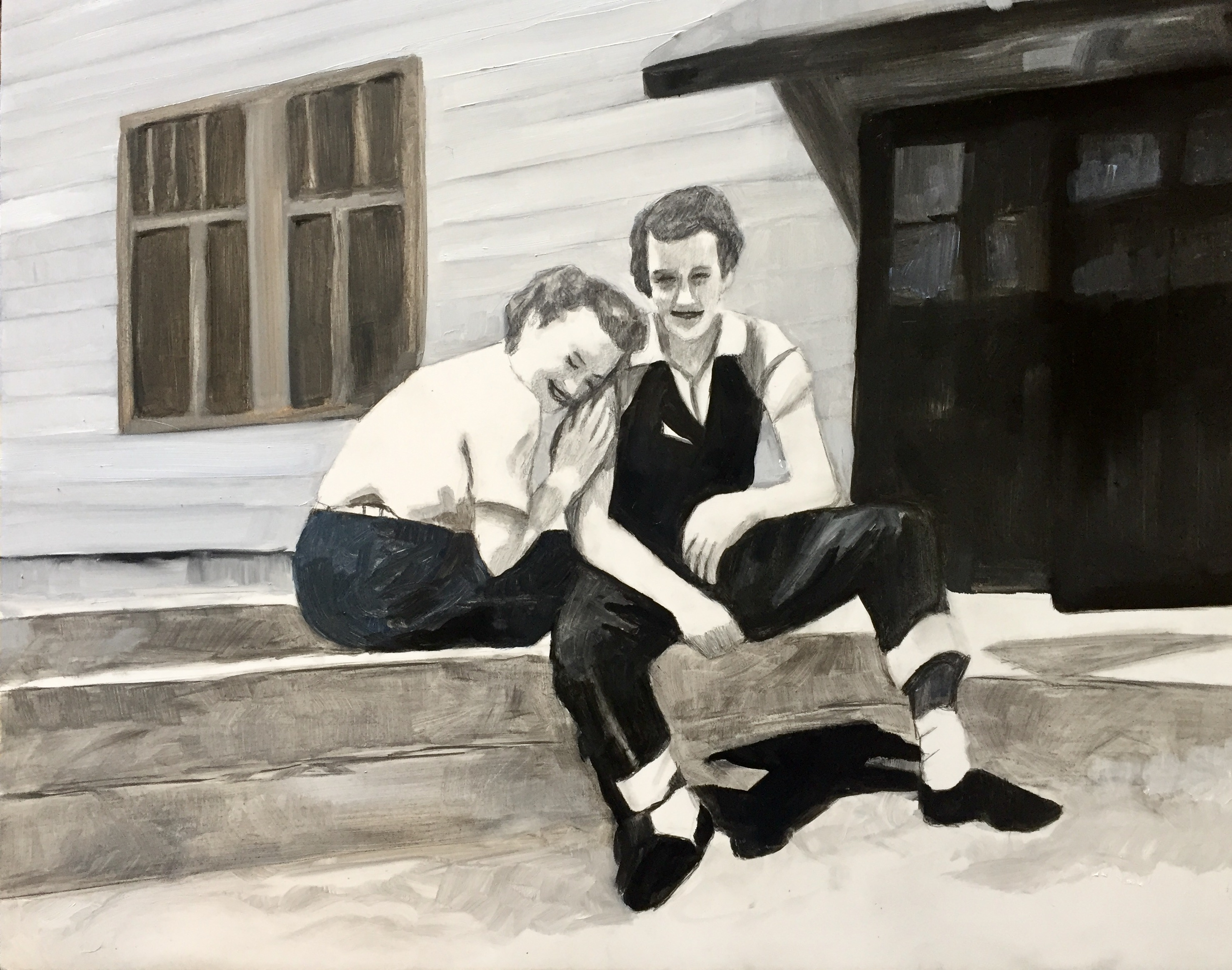 """""""June and Anna, 1948,"""" 2019, Oil and Graphite on Primed Wooden Panel, 11 x 14 inches"""
