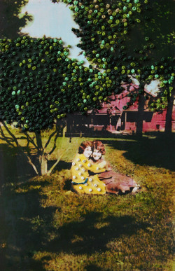 """""""Between Shadows,"""" Hand-embroidery and ink on found photograph."""