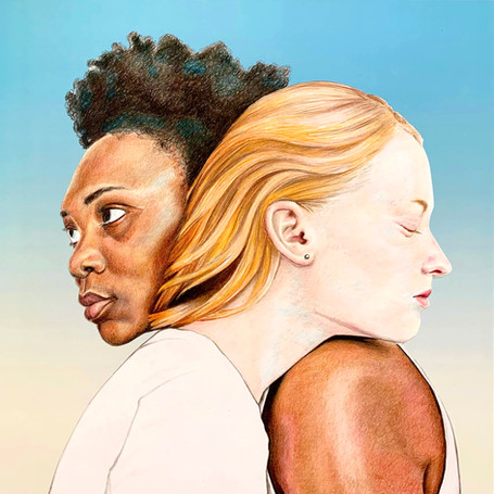"""""""Sammie and Ava,"""" Colored Pencil pencil on Bristol Paper, mounted on paper and wooden panel. 2020. 20 x 20 inches"""