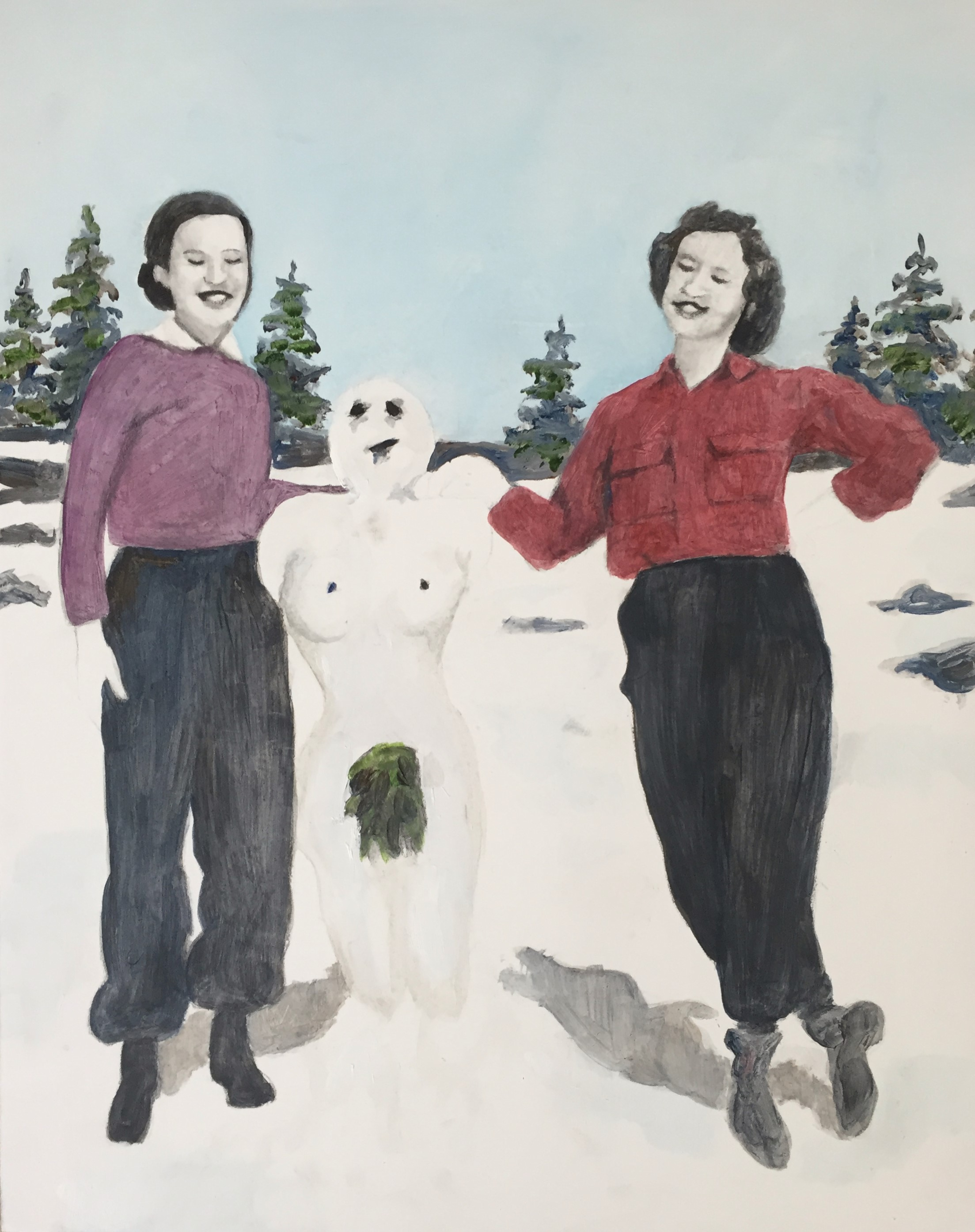 """""""Jane, Mary-Beth, and the Snow Woman, Spring 1948,"""" Oil, Ink, and Pencil on Primed Wooden Panel. 11"""