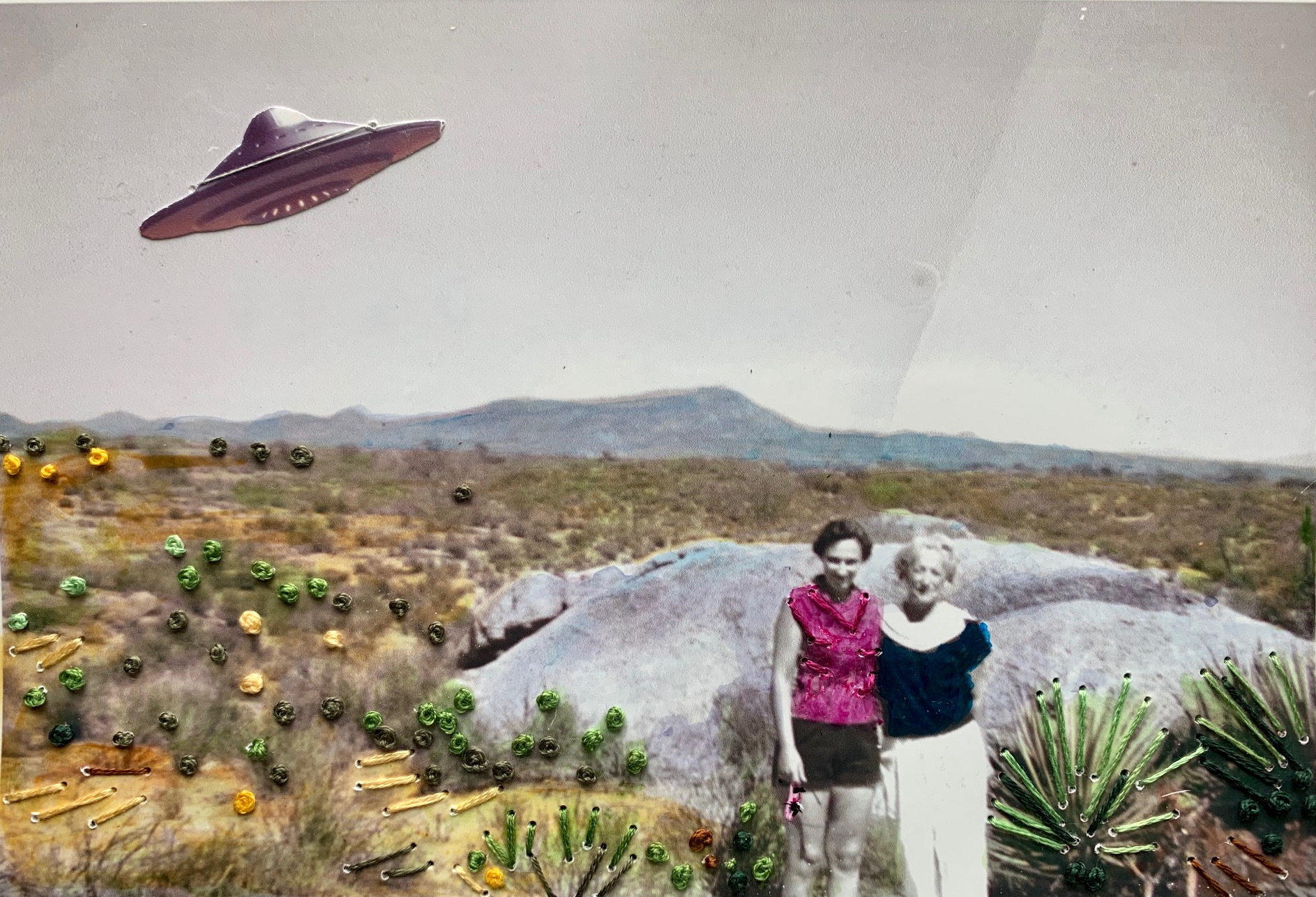 Outside Roswell, Ink, hand-embroidery, and collage on found photograph.