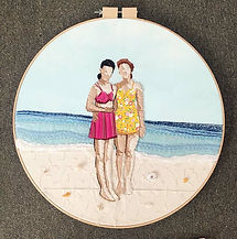 """Seaside, 1947"", Cotton, Felt, Embroidery, Acrylic Paint, and Seashells displayed in Wooden Hoop, 24"