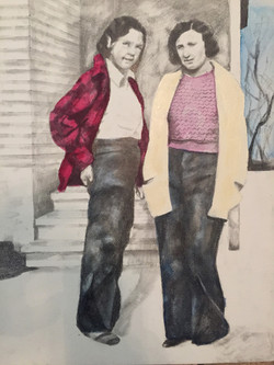 """Helen and her Flatmate, 1937"", 2018, Pencil, Ink, Acrylic, and Oil on Primed Wood Panel, 14 x 11 in"