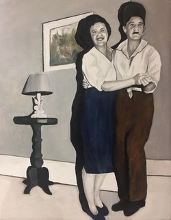 """Late Night Dance,"" 2018, Oil and Graphite on Primed Wooden Panel"