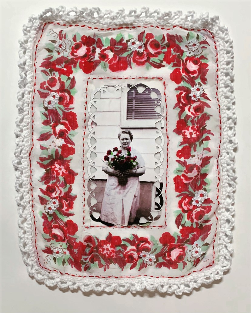 """""""Winter Roses,"""" Ink on found photograph mounted to vintage handkerchief ith ink, embroidery, and cro"""