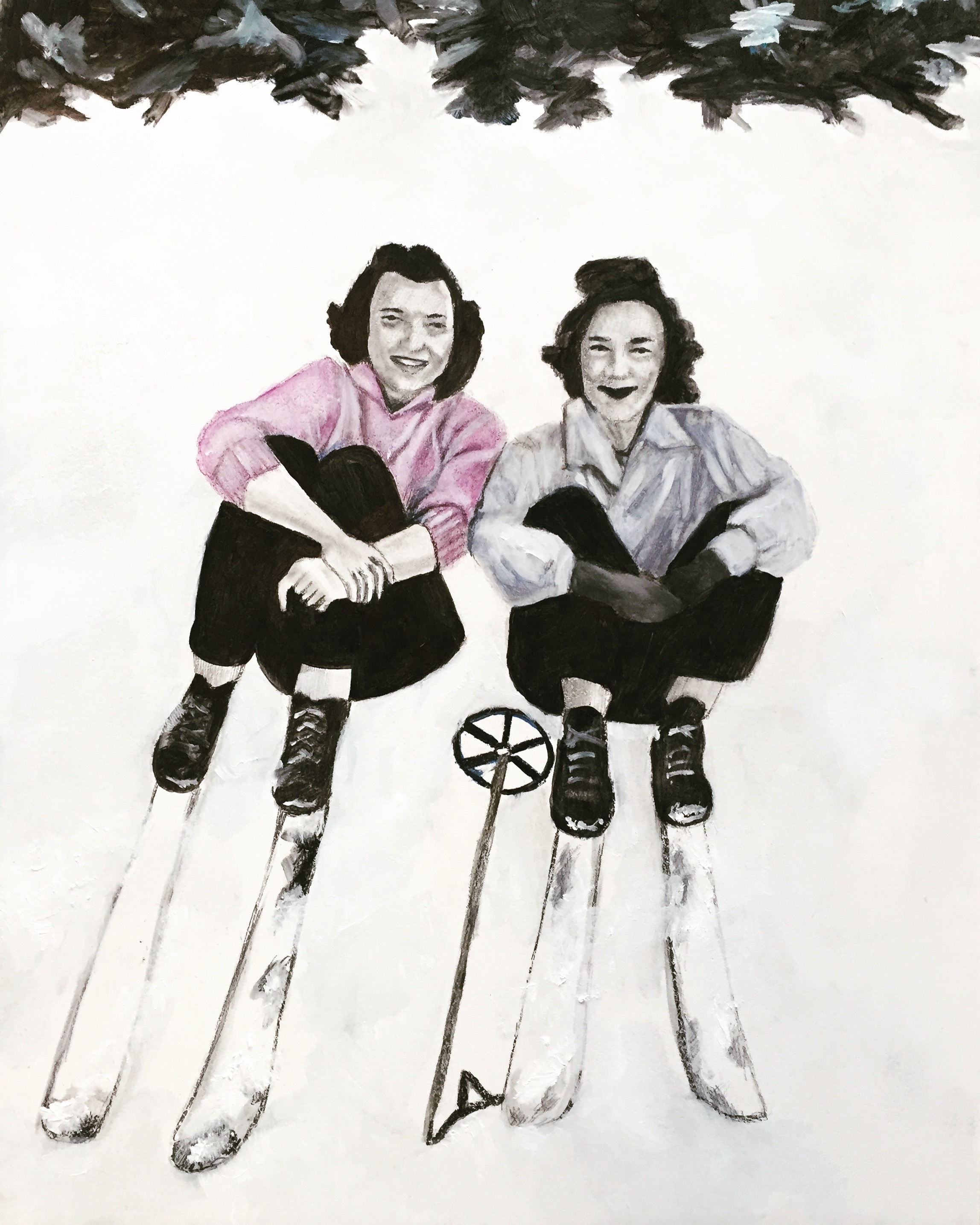 """""""Mary and June Skiing, 1953,"""" Oil, Ink, and Pencil on Primed Wooden Panel, 11 x 14 inches"""