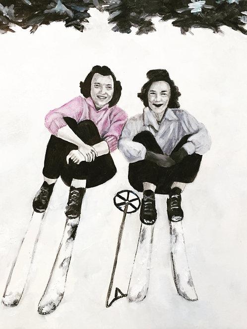 ORIGINAL Mary and June Skiing, 1953