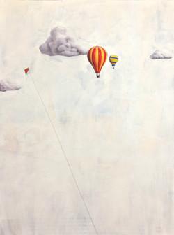 Height Flight, Acrylic and Pencil on Magazine Image.