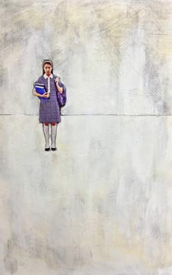 Precipice,  Acrylic and Pencil on Magazine Image.