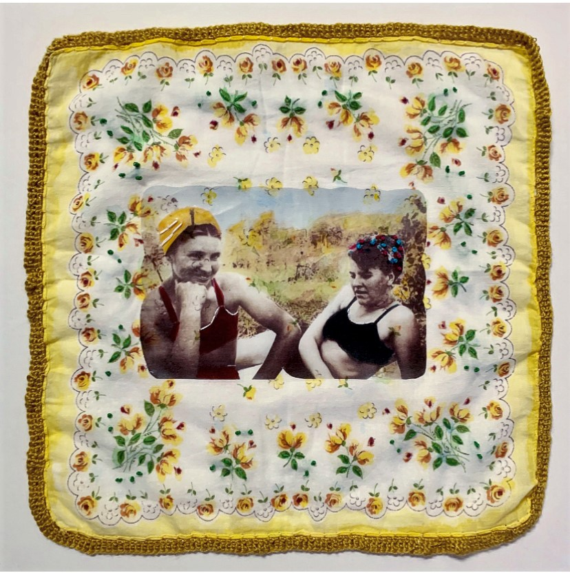"""""""Summer Friends,"""" Photo transfer, embroidery, ink, and crochet on vintage handkerchief"""