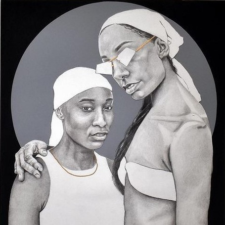 """""""The New Saints,"""" Graphite on Bristol Paper, mounted on Vellum and acrylic on panel."""