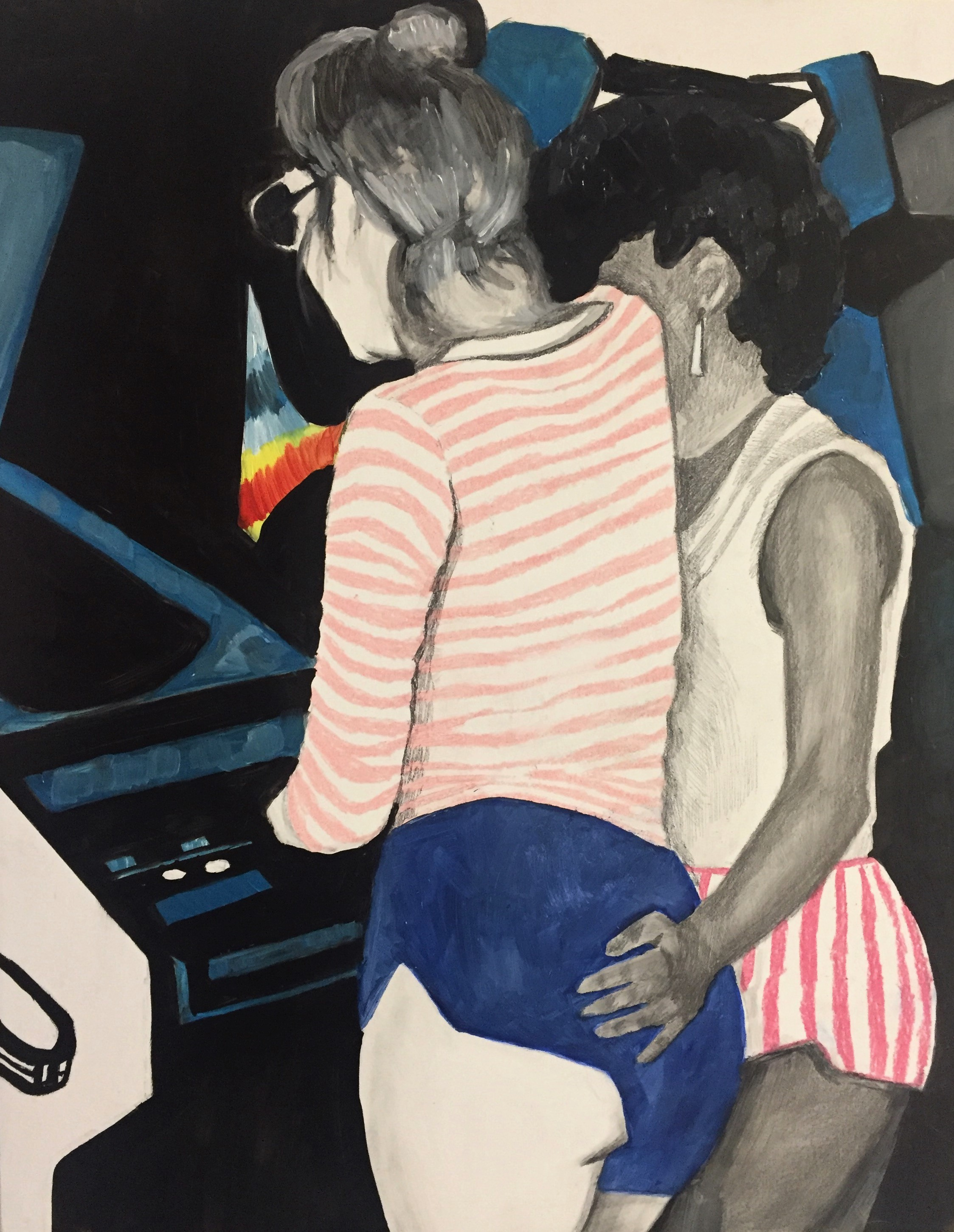 """""""Love in the Arcade,"""" Oil, Colored Pencil, and Pencil on Primed Wooden Panel. 11 x 14 inches."""