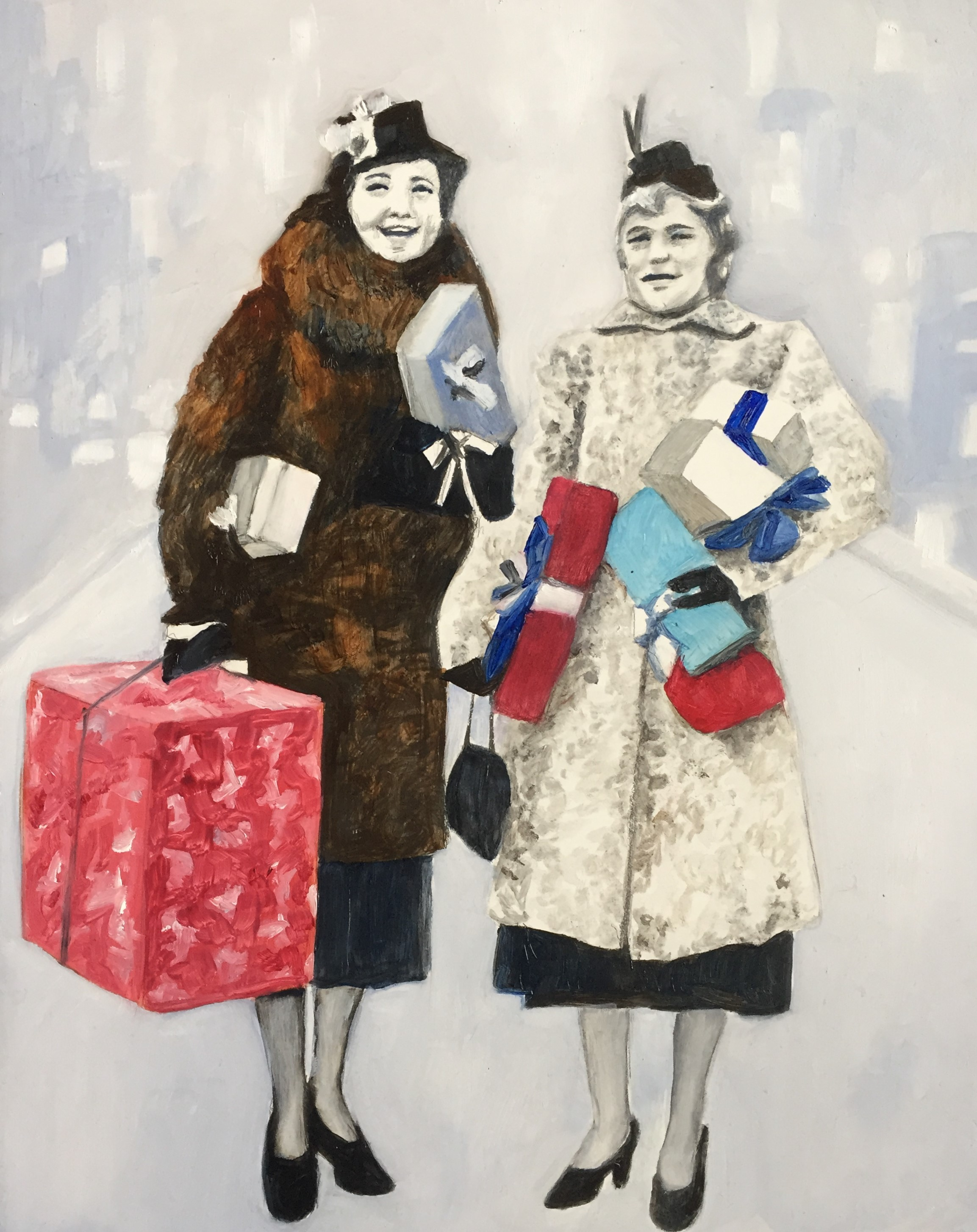 """""""Lily and June, Christmas Shopping 1955,"""" Pencil and Oil on Primed Wooden Panel, 11 x 14 inches"""