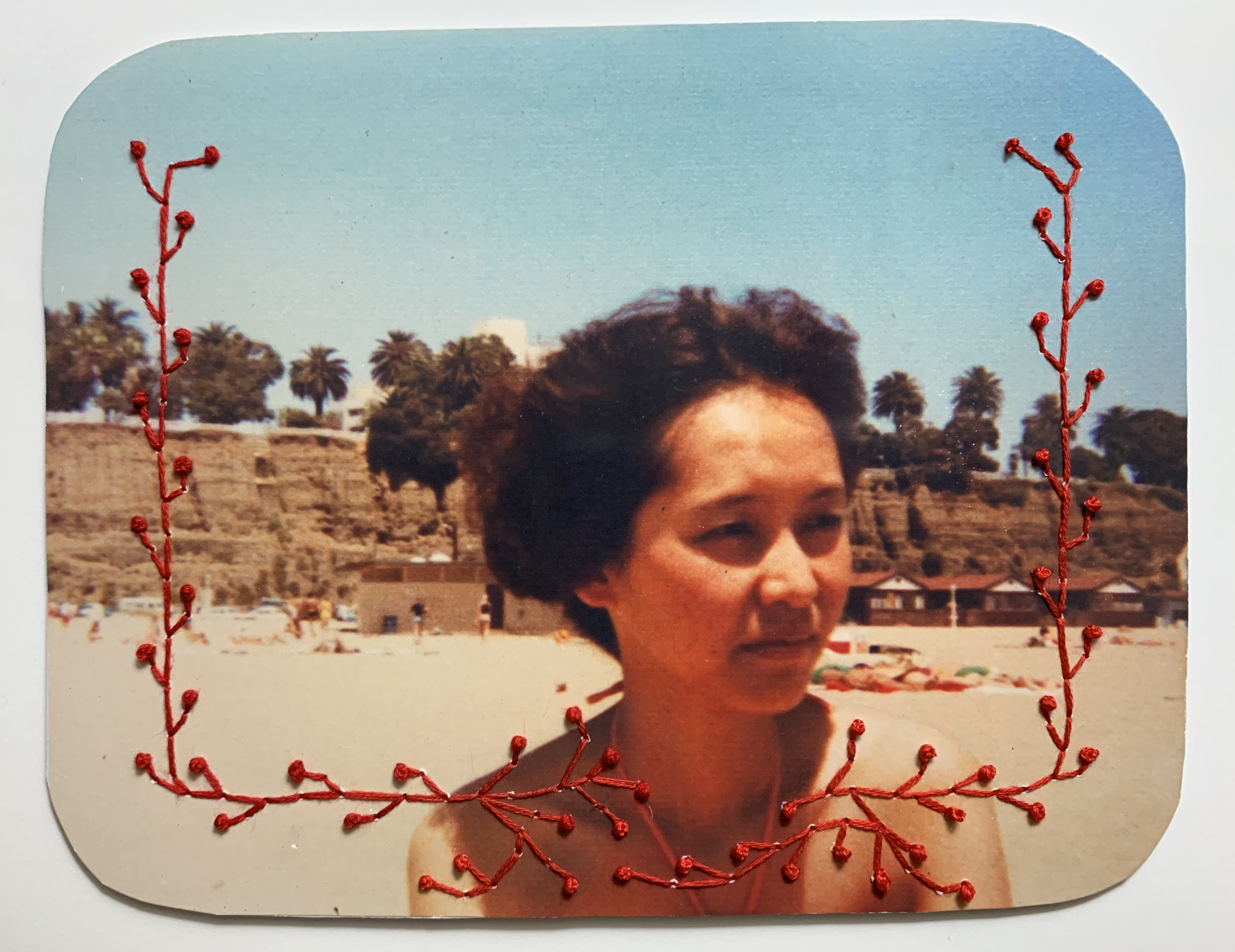 """""""Bloodlines,"""" embroidery on found photograph"""