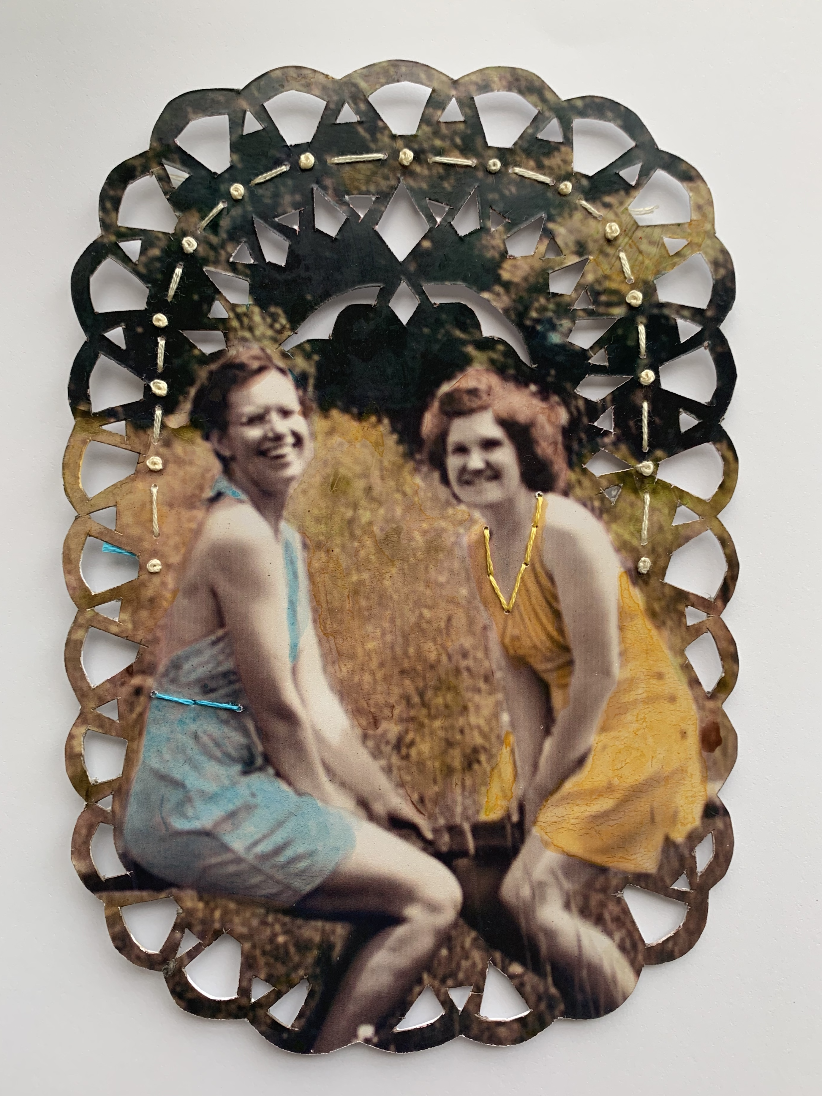 """""""Fall Frolic,"""" Ink and hand-embroidery on found photograph"""