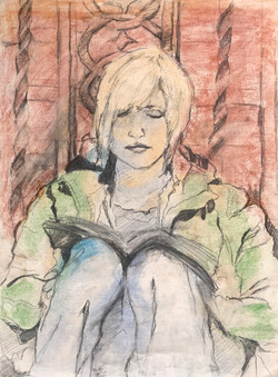 Carla Reading (from life), Chalk Pastel on Paper