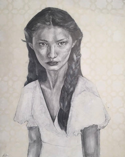 Girl II, Graphite and Acrylic on Primed Wooden Panel