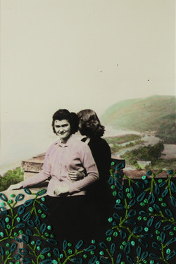 Overlook/Overlooking, Ink and Embroidery on Found Photograph