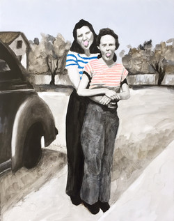 """Lizzie and Beth, 1955,"" Oil, Acrylic, Colored Pencil, and Graphite on Primed Panel."