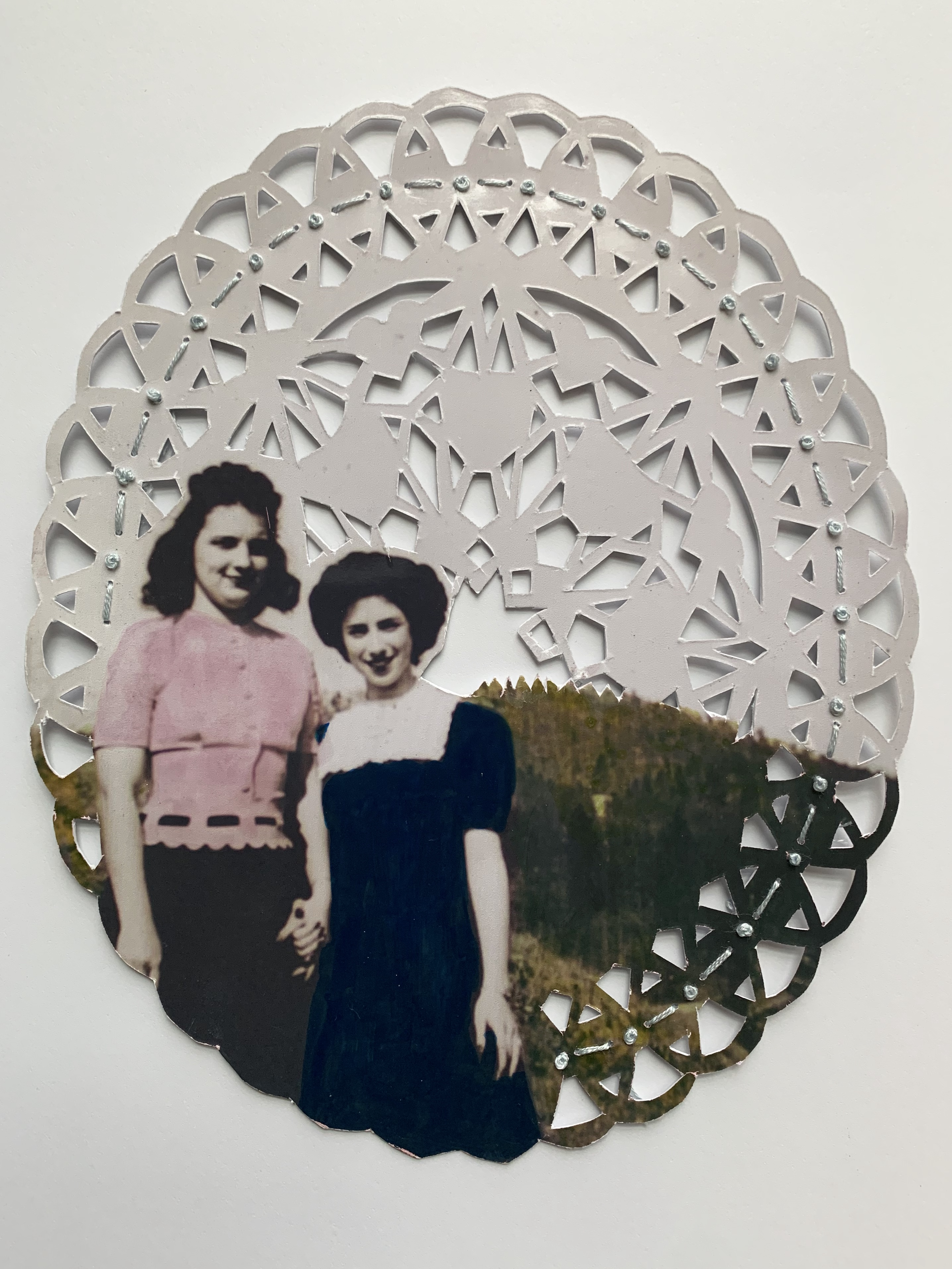 """""""First Date,"""" Ink and hand-embroidery on found photograph."""