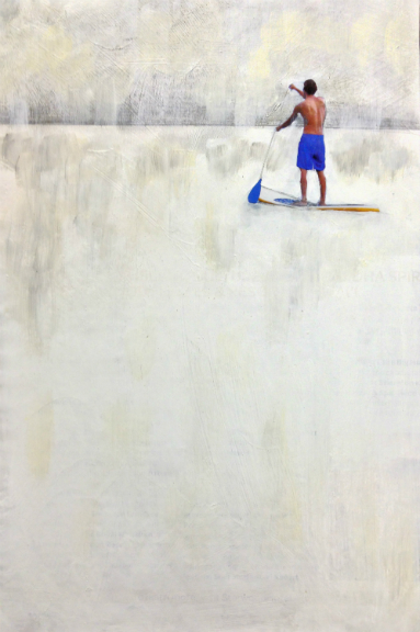 Paddling Out,  Acrylic and Pencil on Magazine Image.