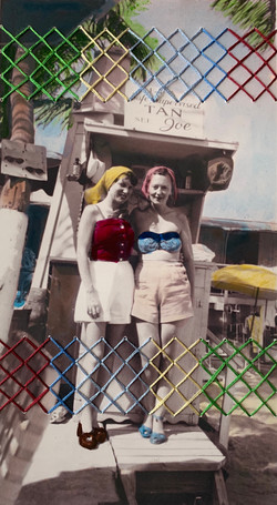 """""""Sandy and June, Florda 1950,"""" Ink and hand-embroidery on found photograph."""